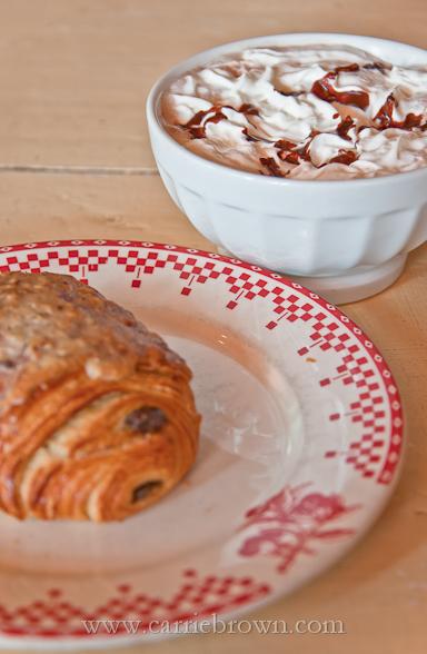 Pain au Chocolat and Hot Chocolate at La Boulange, San Francisco
