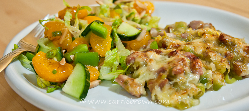Bacon and Leek Bake with Mandarin Orange and Almond Salad