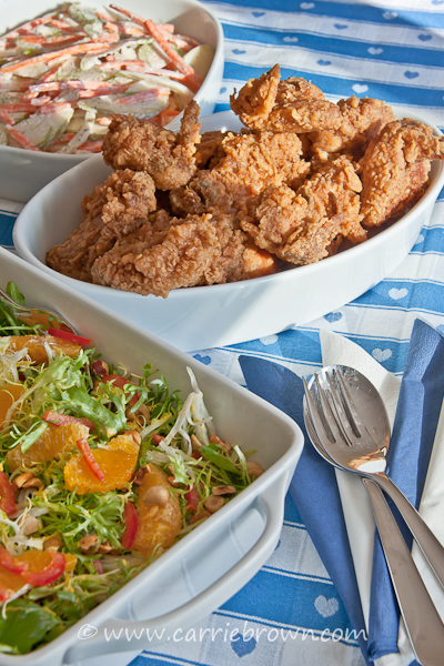 Fried Chicken, Orange Hazelnut Frisee and Summer Pear Slaw
