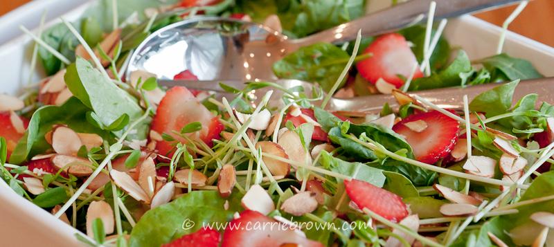 Strawberry Pea Shoot Salad