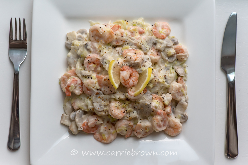 Prawns with Leeks and Lemon Pepper | Carrie Brown