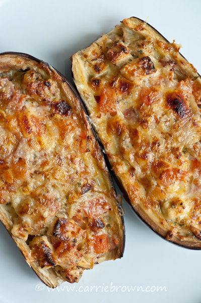 Ham, Cheese, and Tomato Stuffed Eggplant | Carrie Brown