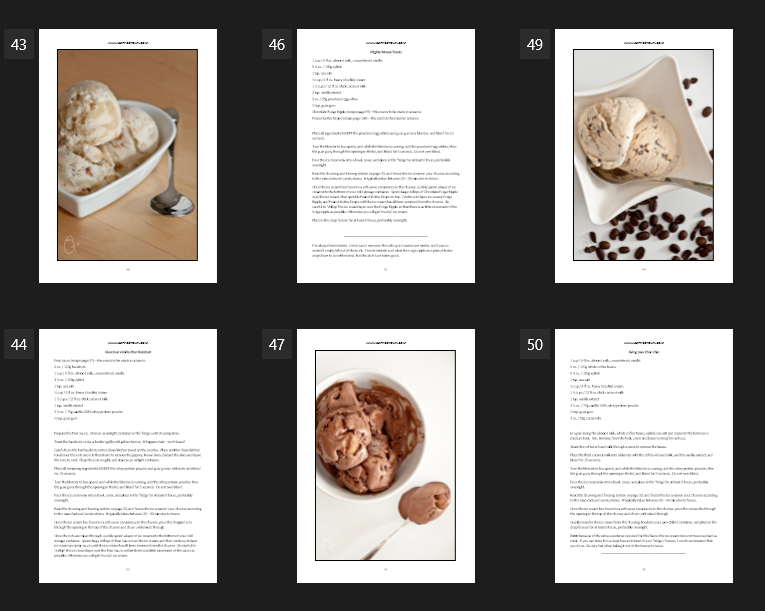 Eat Smarter! Ice Creams E-Cookbook Page Example