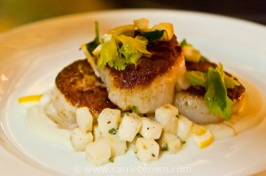 SEARED SEA SCALLOPS seared in brown butter with caramelized cauliflower, cauliflower puree, pickled sultanas and fried capers