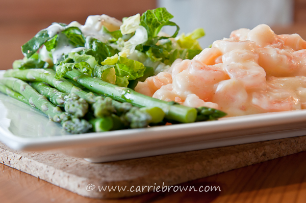 Lemon Buttered Shrimp with Pineapple Pine Nut Salad and Asparagus