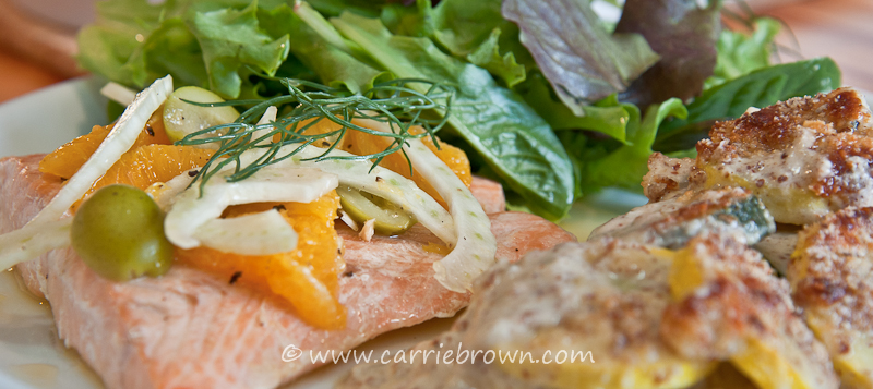 Salmon with Oranges and Fennel & Almond Parmesan Squash