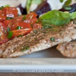Chicken Cutlets with Herb Butter and Roasted Tomatoes with Chives