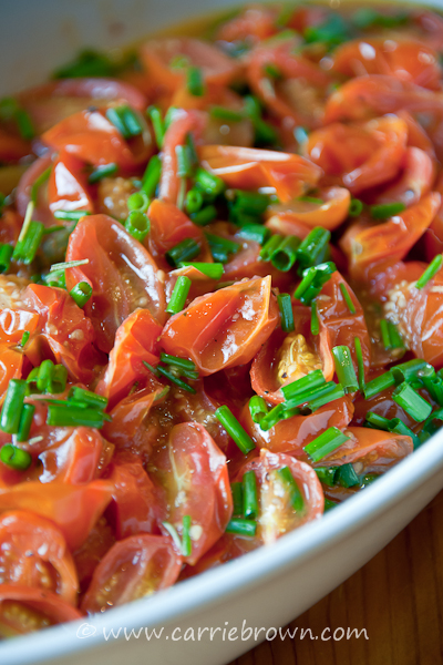 Roasted Grape Tomatoes with Chives