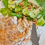 Chunky Chicken and Apricot Pie with Avocado and Walnut Salad