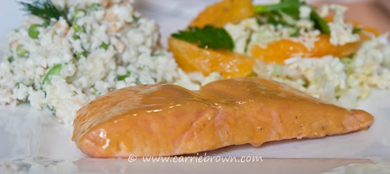 Glazed Salmon, Orange Herb Slaw and Green Pea and Pineapple Salad