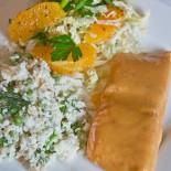 Glazed Salmon, Orange Herb Slaw and Green Pea and Pineapple Salad