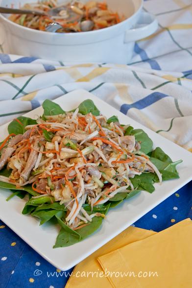 Peanut Butter Chicken Salad on spinach