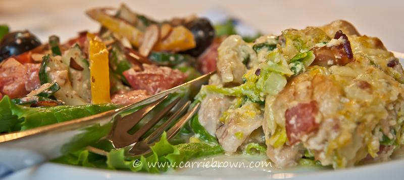 Chicken and Cabbage Carbonara with Gazpacho Salad