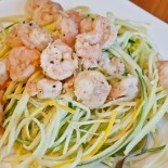 Grilled Lemon Prawns with Coconut Cream Squash Noodles
