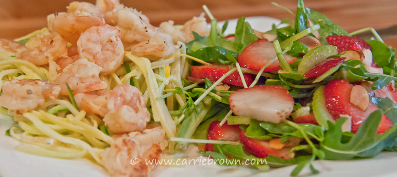 Grilled Lemon Prawns with Squash Noodles and Strawberry Peashoot Salad
