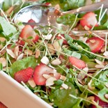 Strawberry Pea Shoot Salad