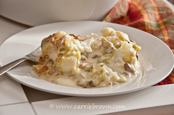 Leek, Mushroom, and Cauliflower Casserole  |  Carrie Brown