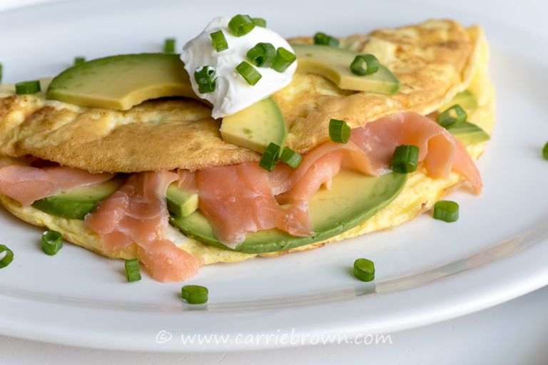 Salmon Avocado Omelet | Carrie Brown