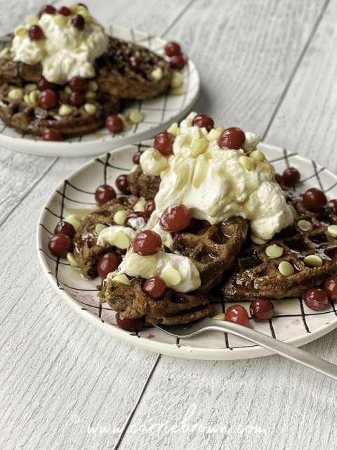Spiced Chocolate Ricotta Waffles