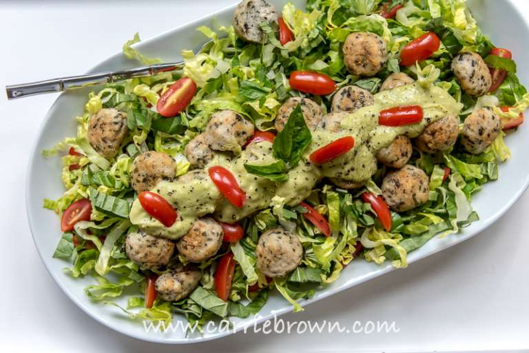 Chicken Meatball Salad | Carrie Brown