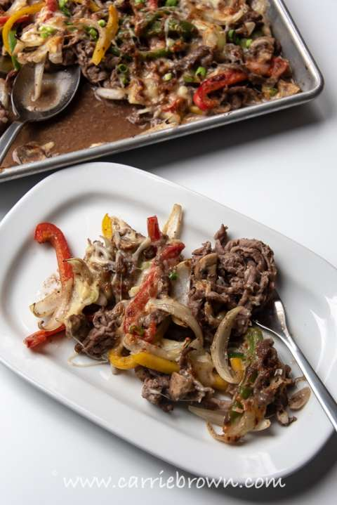 Sheet Pan Nutmegger Cheesesteak | Carrie Brown